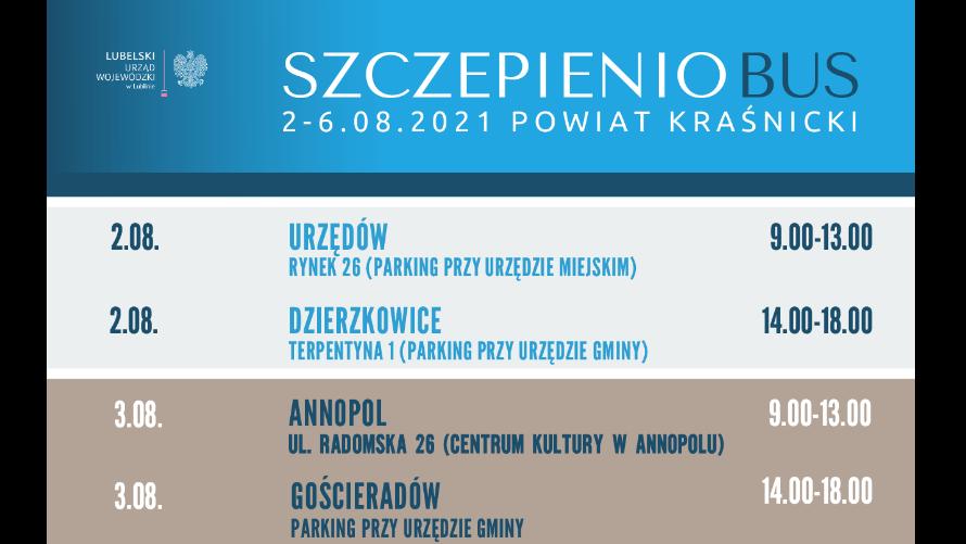 Plakat informacyjny z datami, godzinami i miejscem ustawienia szczepieniobusa.